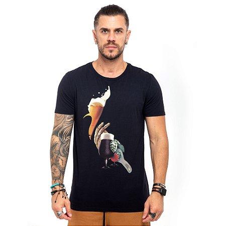 Camiseta Reserva preta logo wine