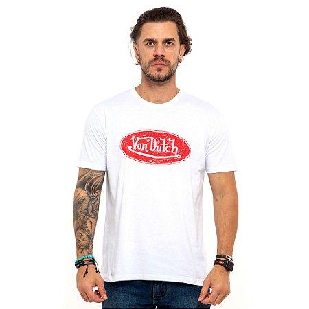 Camiseta Von Dutch branca logo elipse vermelha