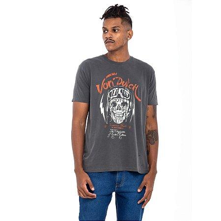 Camiseta Von Dutch estonada chumbo caveira