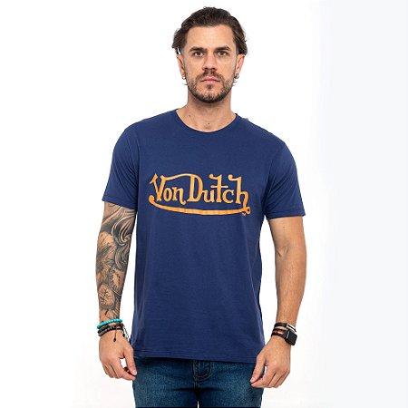 Camiseta Von Dutch logo signature marinho
