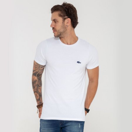 Camiseta Lacoste branca mini logo