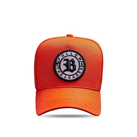 Boné Snapback Follow All Orange Logo Black