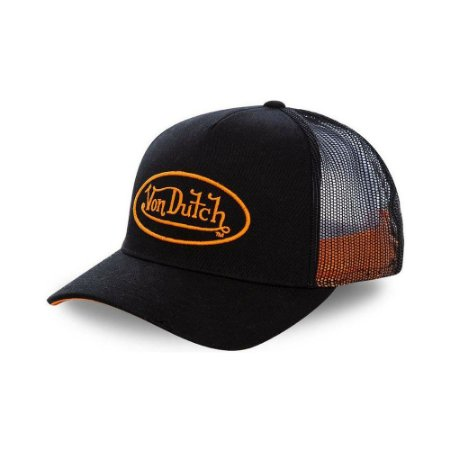Boné Von Dutch Trucker logo preto/laranja