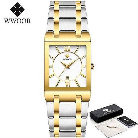 Relógio Premium Luxo Coleção 2021 Para Mulheres Prata com Dourado