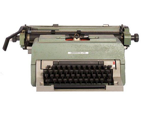 Máquina de escrever cinza vintage