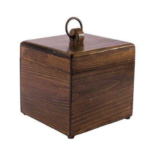 Caixa madeira com tampa argola