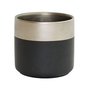 Vaso cachepot preto borda prata