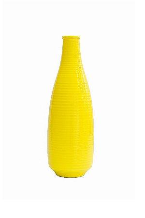 Vaso garrafa riscada amarela