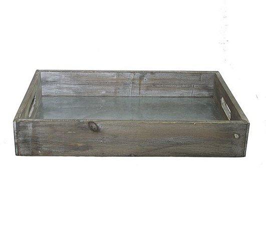 Bandeja madeira com fundo metal anodizado M
