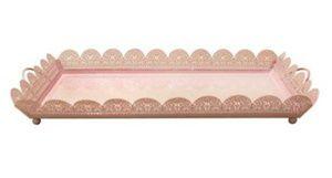 Bandeja retangular metal rosa P com alça