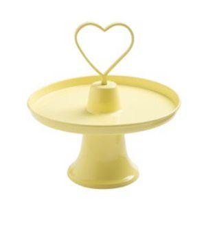 Prato doce metal coração com pé amarelo