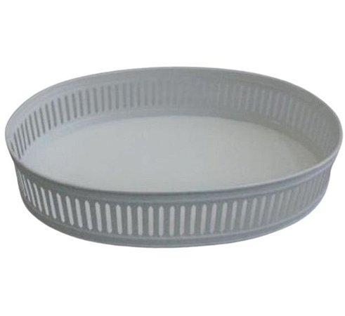 Bandeja oval metal branca