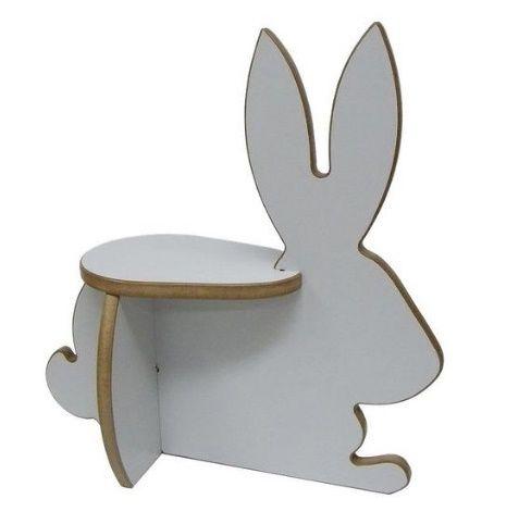 Banquinho madeira coelho branco