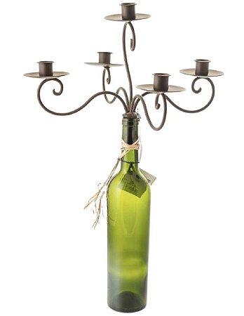 Castiçal de ferro para garrafa