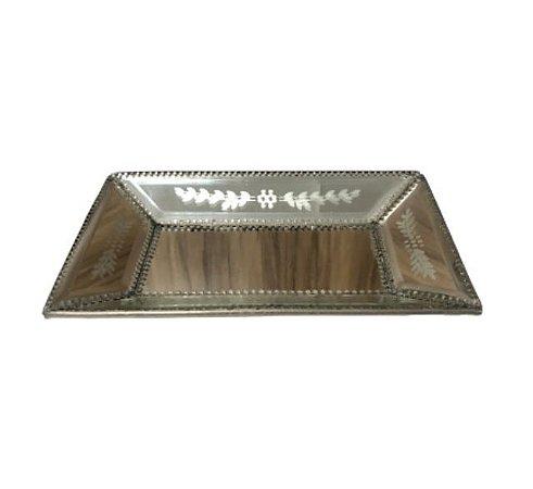 Bandeja espelho veneziano prata