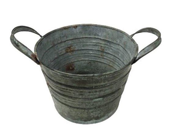 Cachepot ferro com alça verde M