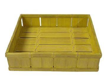 Cesto ripado retangular amarelo G
