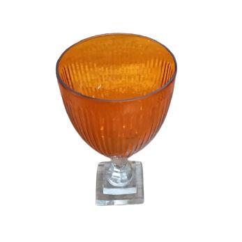 Vaso anfora listrado laranja