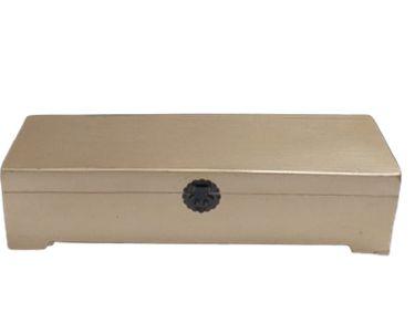 Caixa longa baú dourada G