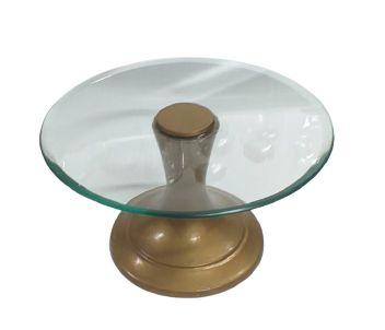 Prato doce ferro e vidro dourado M