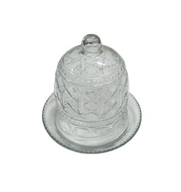 Prato doce vidro com redoma P