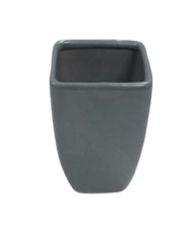 Vaso quadrado adamascado cinza