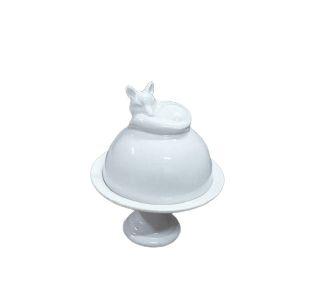 Prato doce branco com cúpula raposinha