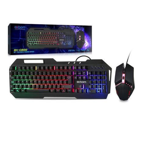 Kit gaming teclado metal com mouse led rgb abnt2 bk-g800