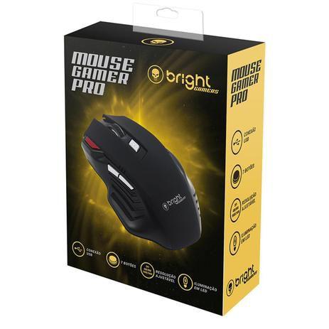 Mouse Gamer Pro USB LED 7 botões 465 Bright