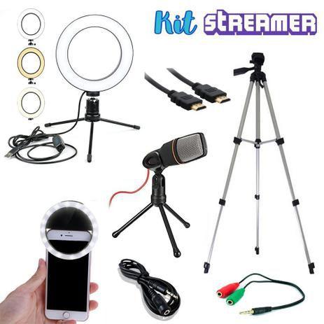 Kit Streamer Youtuber 1 Tripé Microfone Ring Light