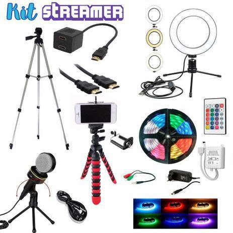 Kit Streamer Youtuber 4 Tripes Fita Led Microfone Cabos Ring Light