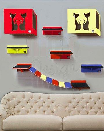 Kit com 02 nichos, 04 prateleiras e 01 ponte de corda colorido