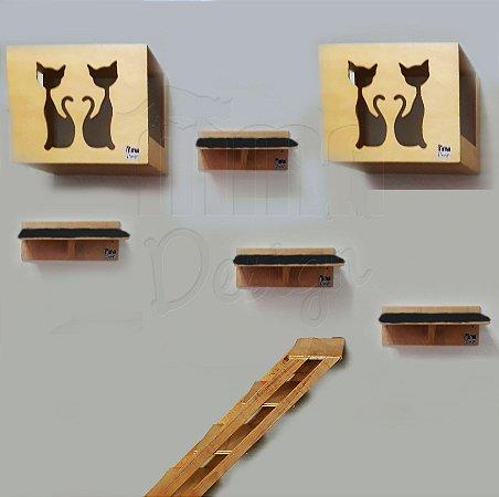 Kit com 02 nichos, 04 prateleiras e 01 escada para área externa