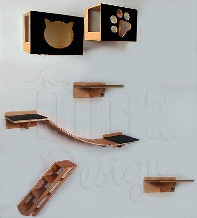 Kit com 02 nichos com frente preta ou envernizada, 02 prateleiras, 01 passarela e 01 escada