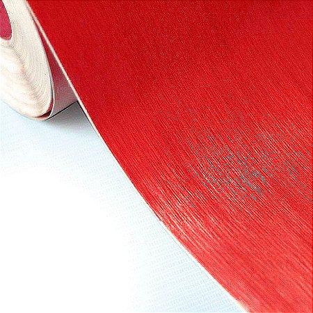 Adesivo Aço Escovado Vermelho (Largura 1,22m) - VENDA POR METRO