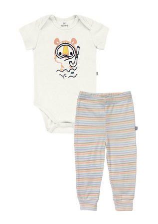 Conjunto Longo Bebê Com Body E Calça Hering Kids - Off White