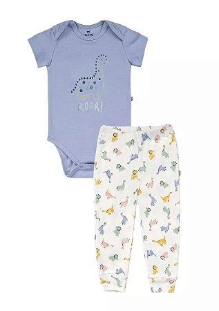 Conjunto Longo Bebê Com Body E Calça Hering Kids - Azul