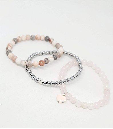 Conjunto de Pulseiras em Pedras Naturais Amor de Rosa