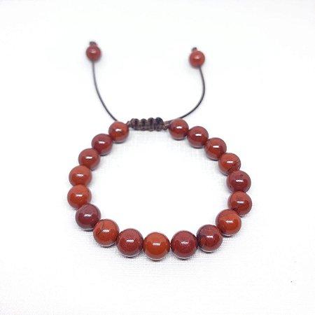Pulseira em Pedra Natural Regulável Jaspe Vermelha