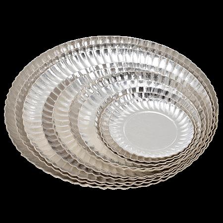 Prato de Papelão Laminado Prata N°6 - 23 cm 100 unidades