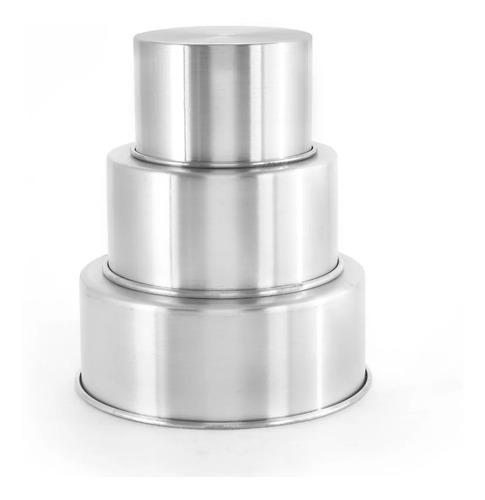 Jogo 3 Forma Assadeira Bolo Redonda Alta 15-20-25 Aluminio