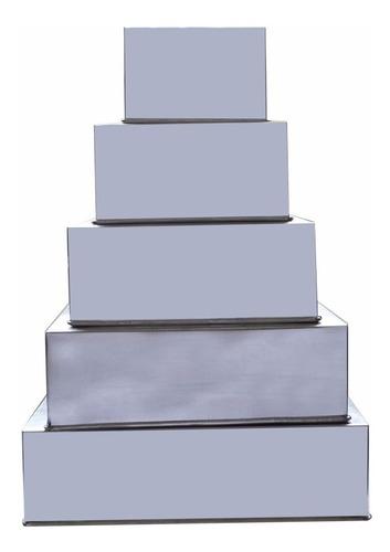 Conjunto Formas Quadradas Para Bolo 5 Pçs  Alumínio-10cm Alt