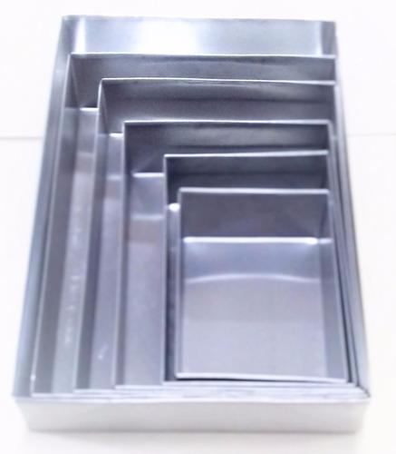Kit Formas Retangular 6 Pçs Alumínio 10cm Altura