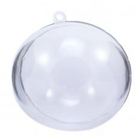 Esfera Acrílica / Bola de Natal 6,5cm Transparente c/10 unidades