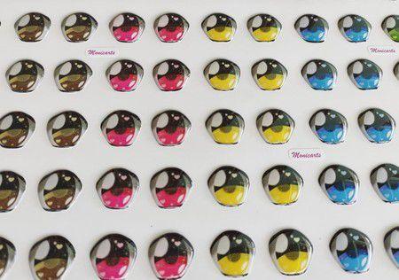 Olhos Adesivos Resinados 484M com 36 pares