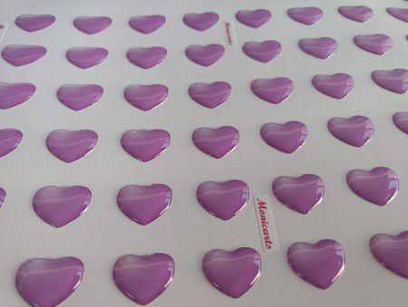 Adesivos Corações Resinados PP com 140 unidades