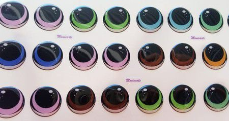 Olhos Adesivos Resinados 460PP com 70 pares