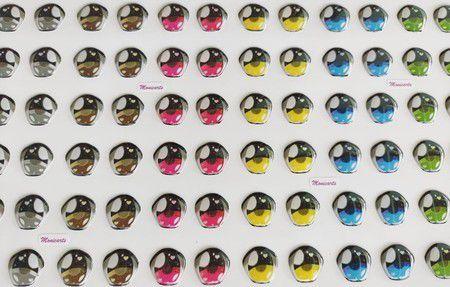 Olhos Adesivos Resinados 484 PP com 81 pares
