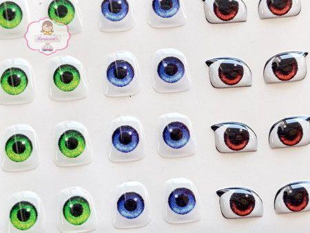 Olhos Adesivos Resinados 528 P com 60 pares
