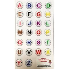 Cartela Botões de Letras Resinadas Redondas Alfabeto